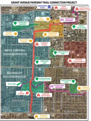 A map of the proposed Grant Avenue Parkway Trail Connection Project.