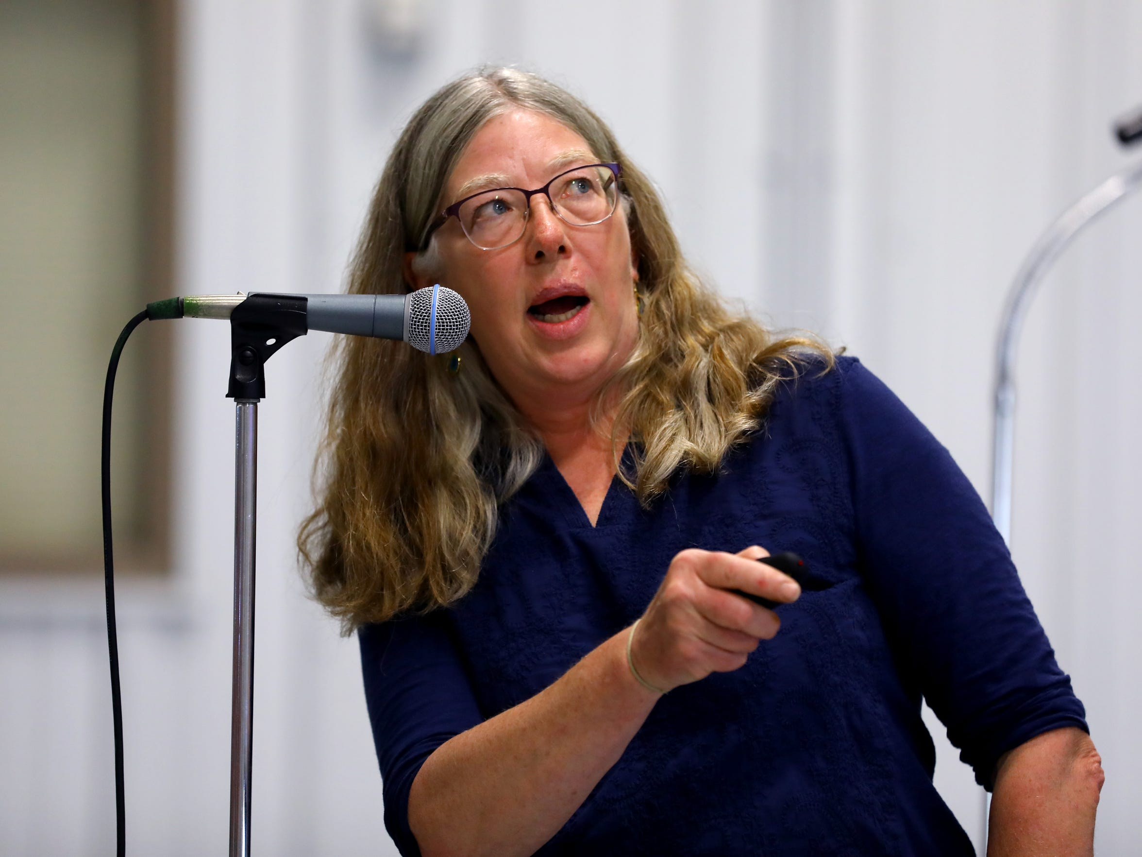 "Maureen Muldoon, a geology professor from the University of Wisconsin-Oshkosh, presented data on the source and method of water contamination in Kewaunee County during a meeting at the Expo Hall at the Kewaunee County Fairgrounds, June 7, 2017. ""Your well can be fine one day, then contaminated, then fine again,"" Muldoon said."