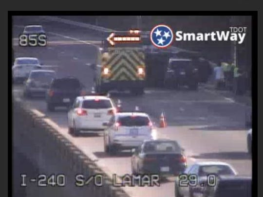 A crash involving an overturned vehicle on I-240 at