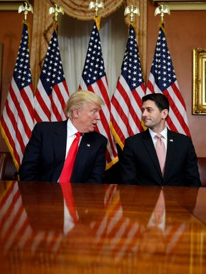 President-elect Donald Trump talks with House Speaker Paul Ryan of Wis. on Capitol Hill in Washington, Thursday, Nov. 10, 2016.