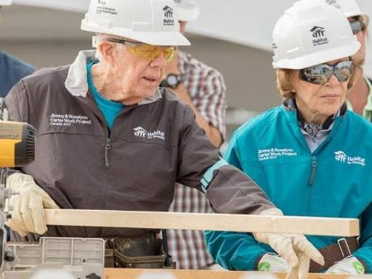 Former U.S. President Jimmy Carter and his wife Rosalynn