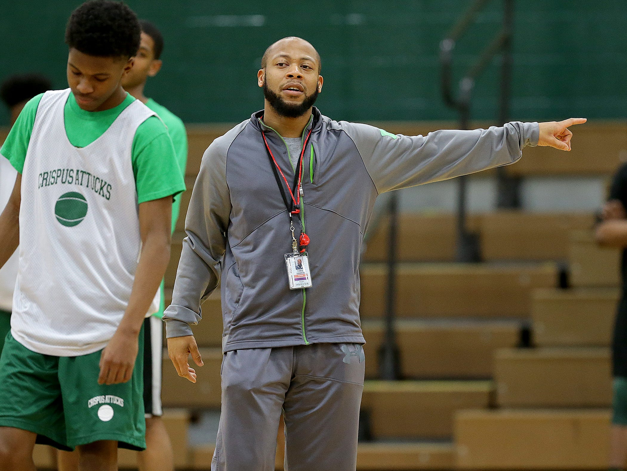Crispus Attucks Tigers head coach Chris Hawkins during Crispus Attucks Tigers practice Tuesday, March 21, 2017, afternoon at Crispus Attucks High School. The Tigers are preparing for the 3A Indiana State finals game against the Twin Lakes Indians.