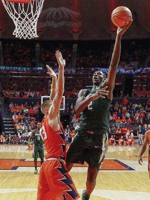 Michigan State's Jaren Jackson Jr. shoots the ball against Illinois' Michael Finke during MSU's 87-74 win on Monday, Jan. 22, 2018, in  Champaign, Ill.