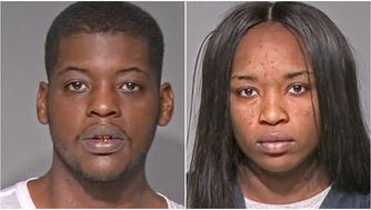Jabron Lowe, left, and Asja McClinton, right, have been charged with possession of heroin, cocaine and felon in possession of a firearm.