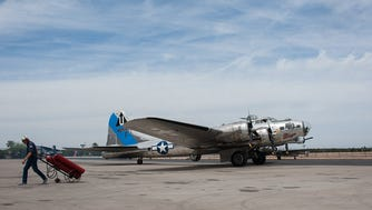 """Out of nearly 13,000 B-17s produced, Cook said, fewer than a dozen still fly. The surviving planes include Sentimental Journey, a B-17G, at Falcon Field. He said maintenance can be expensive because """"there aren't that many customers who would want a B-17 engine, but there are some, and it's profitable for those people."""""""