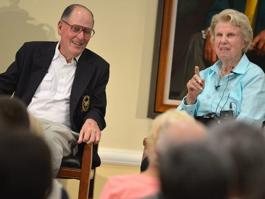 Pete (left) and Alice Dye, the husband-and-wife golf course design team, are shown in this 2013 file photo during a presentation at the PGA Speakers Series at the PGA Golf Club in Port St. Lucie. The Dyes have worked together designing courses such as Kiawah Island's Ocean Course and the Stadium Course at TPC Sawgrass.