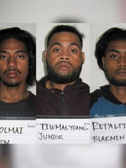 Damen Togolmai, Junior Tiwmalyoang and Blarmin Repalpiy are shown in this combined photo.