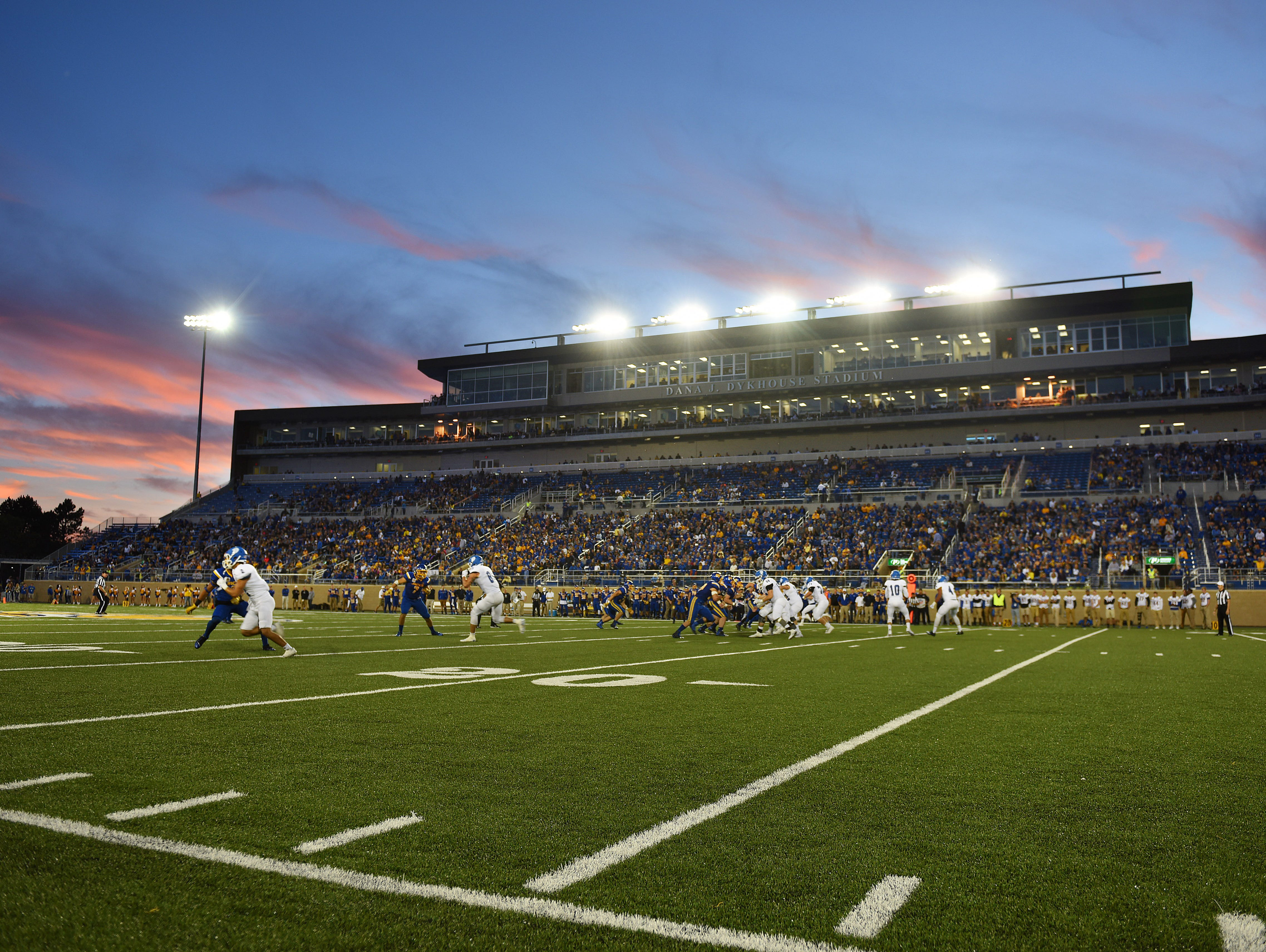 A crowd fills the stands at Dana J. Dykhouse to watch the Jackrabbits take on Drake University in Brookings on Saturday.