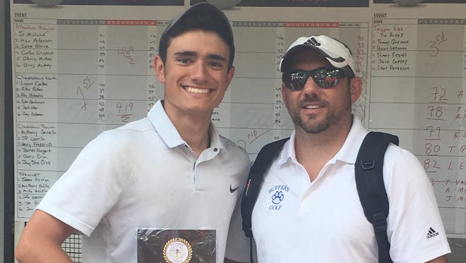 Suffern sophomore Alex Kyriacou poses with coach Brett Badendyck after winning the Rockland County golf championship on May 18, 2017 at Rotella Golf Course in Thiells.