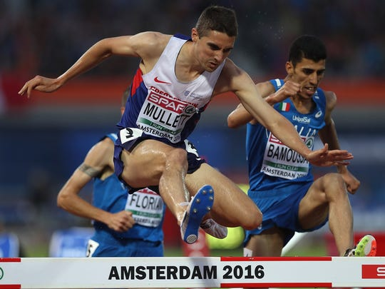 Rob Mullett of Great Britain in action during the final of the mens 3000m steeplechase on day three of The 23rd European Athletics Championships at Olympic Stadium on July 8, 2016 in Amsterdam, Netherlands.