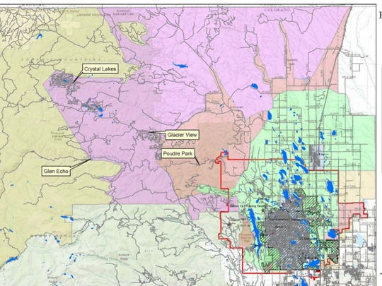This map shows the boundaries of the five zones spanning northern Larimer County, dictating UCHealth EMS response times.