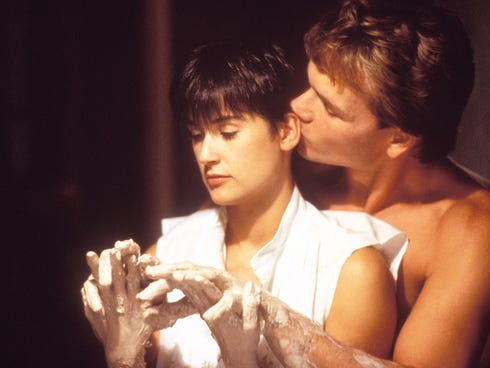 Motion picture scene from Paramount Pictures' 1990 film, 'Ghost,' starring Patrick Swayze as Sam Wheat and Demi Moore as Molly Jensen.