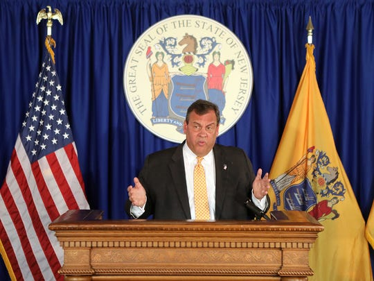 Gov. Chris Christie speaks at a press conference in Trenton in June 2017.