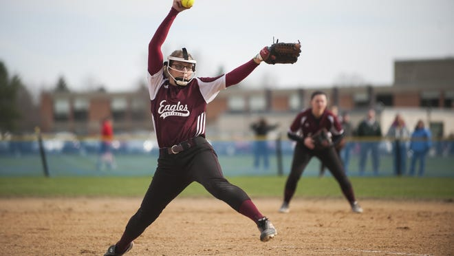 Mount Abraham pitcher Rachel McCormick (4) delivers a pitch during the high school girls softball game between the Mount Abraham Eagles and the Essex Hornets at Essex high school on Thursday afternoon.