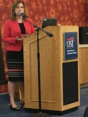 Kelly Mitchell, Indiana state treasurer, speaks about CollegeChoice 529 plans at the University of Southern Indiana.