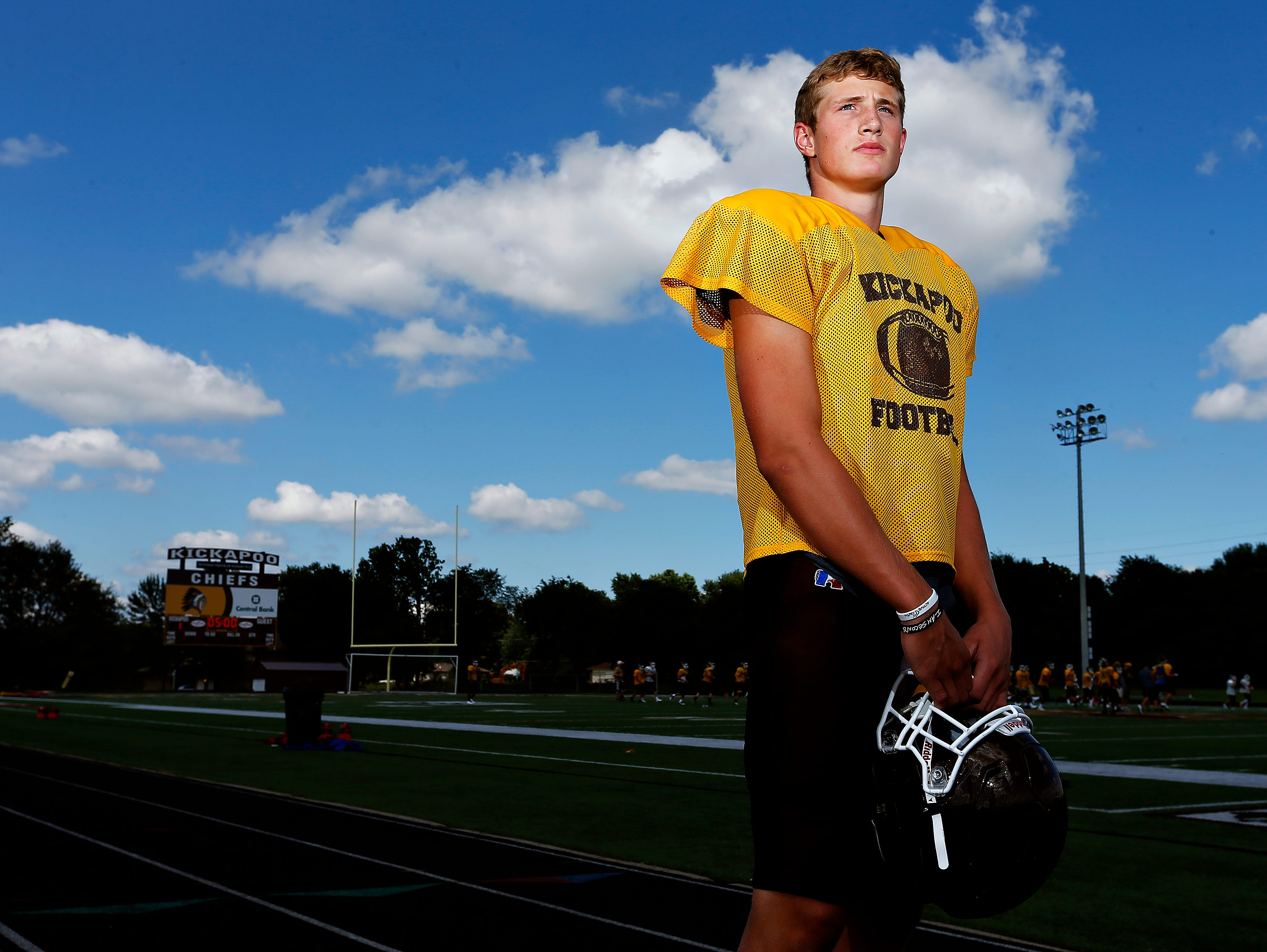 Kickapoo High School junior Travis Vokolek poses for a portrait prior to a Chiefs practice at Pottenger Stadium in Springfield, Mo. on Aug. 17, 2016.