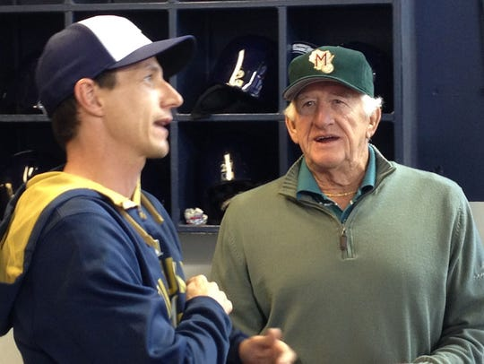 Craig Counsell and Bob Uecker visit in the Brewers