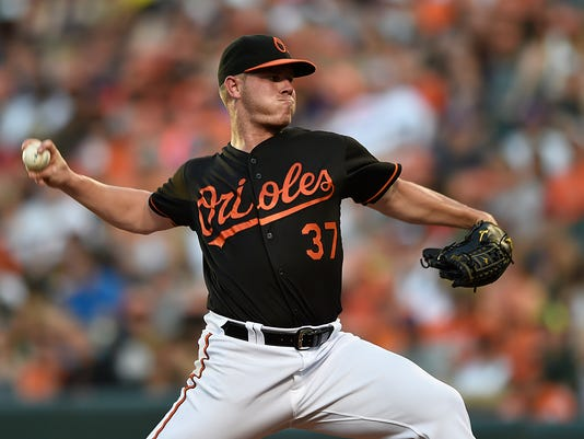 Cleveland Indians pitcher Dylan Bundy throws against the Baltimore Orioles in the first inning of a baseball game, Friday, July 22, 2016, in Baltimore. (AP Photo/Gail Burton)