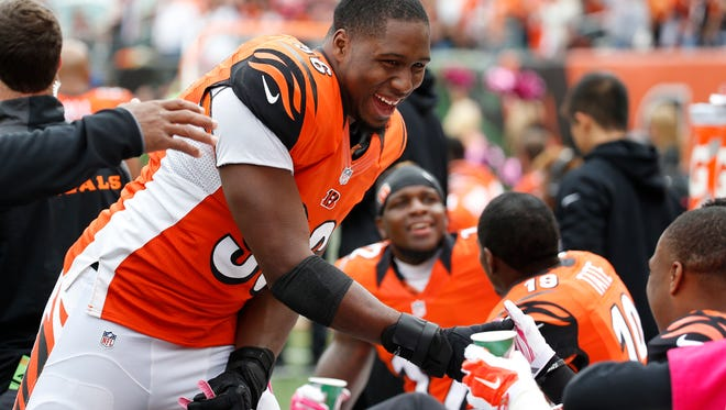 Cincinnati Bengals defensive end Carlos Dunlap (96) was all smiles after running back Giovani Bernard (25) broke for a huge touchdown in the second quarter against the Carolina Panthers at Paul Brown Stadium. The Enquirer/Jeff Swinger