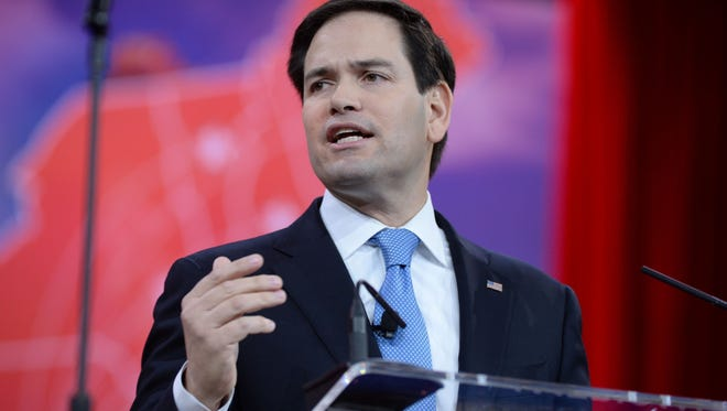 H. Darr Beiser,  USA TODAY Sen. Marco Rubio, R-Fla., supports a U.S.-backed ground war vs. Islamic State. 2/27/15 8:48:23 AM -- National Harbor, MD, U.S.A  -- Sen. Marco Rubio, R-Fla., speaks at the 2015 Conservative Political Action Conference (CPAC) at the Gaylord National Resort.  Photo by H. Darr Beiser, USA TODAY Staff ORG XMIT:  HB 132665 CPAC 2/26/2015 [Via MerlinFTP Drop]