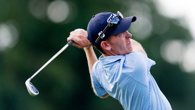 Jonathan Hodge swings during the News Sentinel Open at Fox Den Country Club in Knoxville, Tennessee on Thursday, August 17, 2017.