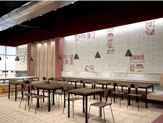 A rendering of the inside of the Hummus & Pita Co.