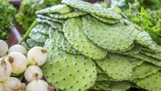 Nopales: Prickly-pear cactus pads eaten as a vegetable.