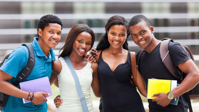 happy african college friends