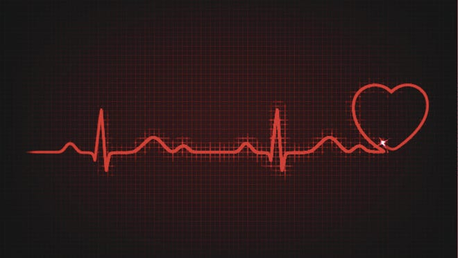 Cardiogram with heart symbol