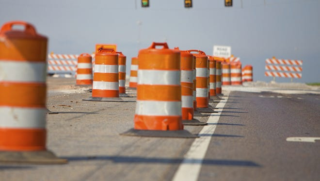 Line of road cones