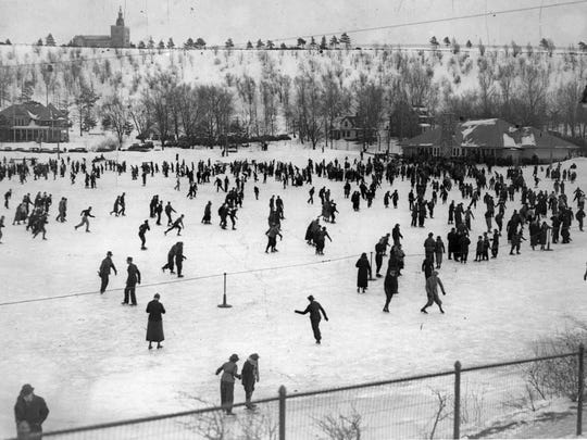Hundreds of skaters cut the clear ice and brisk air