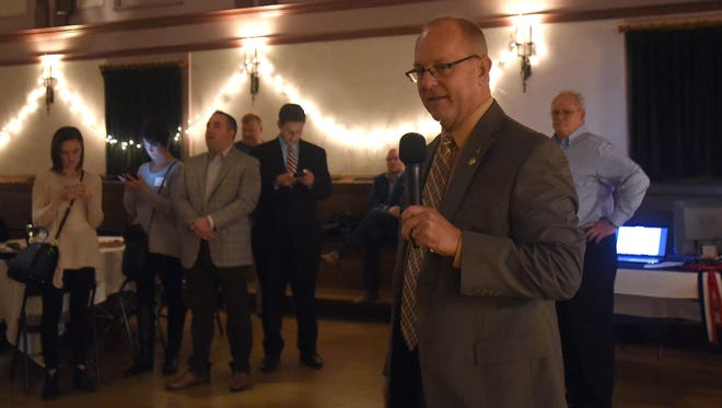 Doug Marmie thanks supporters after winning his reelection bid for the Newark City Council 6th Ward seat during the Licking County Republican Party watch party at the Elks Lodge on Tuesday, Nov. 7, 2017. Marmie, who has been on council for 16 years, defeated Democrat challenger Seth Dobbelaer for his fifth term on council.