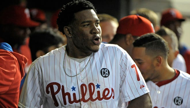 The Phillies hope the next time third baseman Maikel Franco (7) gets called up to the majors, he stays there for good.