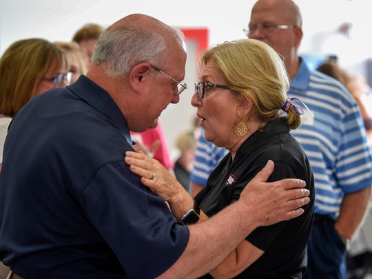 U.S. Rep. Diane Black talks with Ken Gaines at a gathering to promote her GOP campaign for Tennessee governor race at Johnson's Antique Car Barn in Franklin on June 24, 2018.