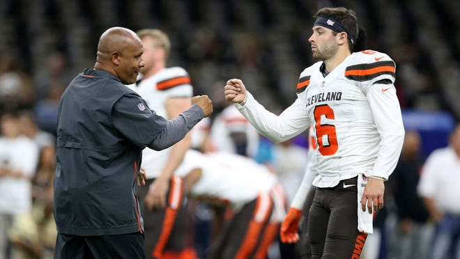 Sep 16, 2018; New Orleans, LA, USA; Cleveland Browns head coach Hue Jackson fist bumps quarterback Baker Mayfield (6) before their game against the New Orleans Saints at the Mercedes-Benz Superdome. Mandatory Credit: Chuck Cook-USA TODAY Sports