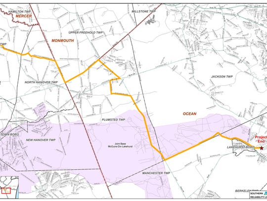 A map showing the proposed route of NJ Natural Gas's