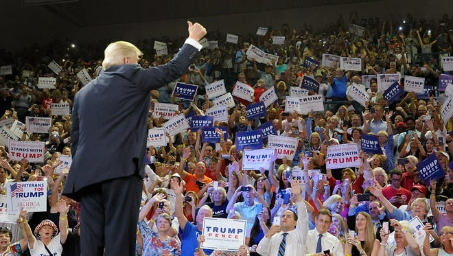 Donald Trump campaigns in   Wilmington, N.C., on Aug. 9, 2016.