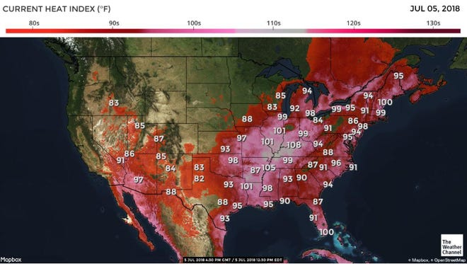 The heat index in the U.S. at 12:30 p.m. on July 5, 2018.