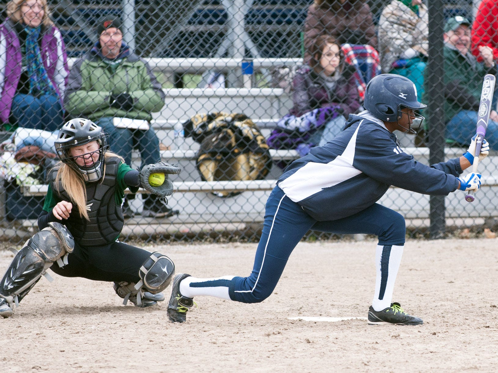 Markeva Love (10) of Gull Lake tries for a bunt on Saturday morning.