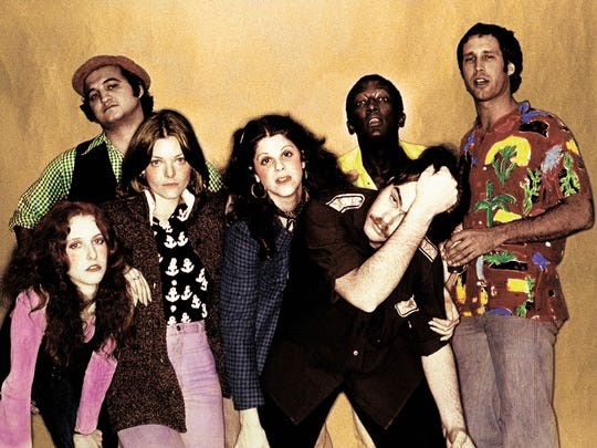 "The original ""Not Ready for Prime Time Players"" of NBC's ""Saturday Night Live"":  Laraine Newman, left, John Belushi, Jane Curtin, Gilda Radner, Garrett Morris, Dan Aykroyd and Chevy Chase."