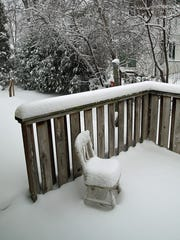 View of snow accumulation on deck on the east side