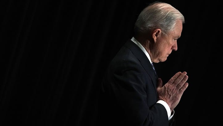 Attorney General Jeff Sessions is introduced during