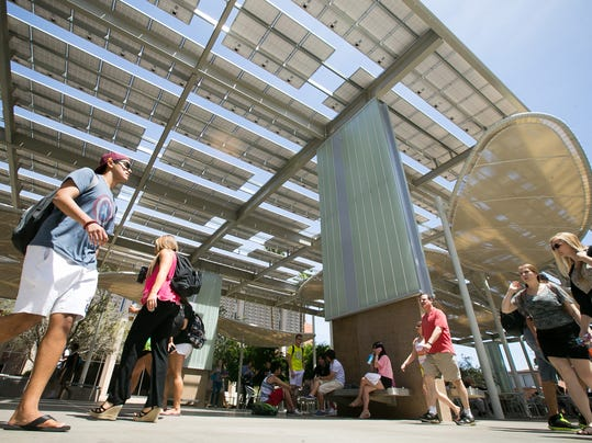 Asu Solar Panel Structures Provide Shade For Students