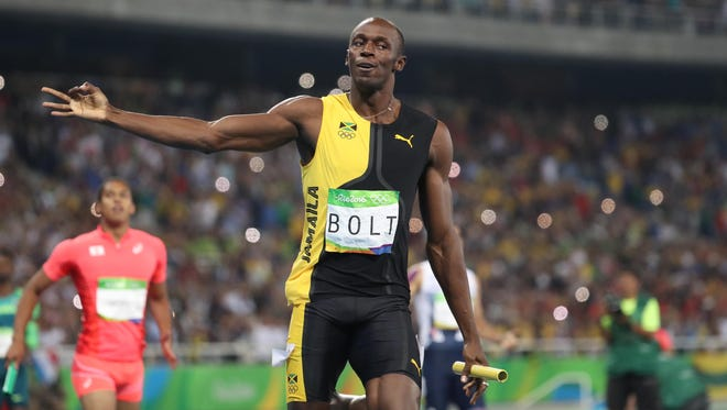 Usain Bolt (JAM) reacts after the men''s 4x100 relay final during the Rio 2016 Summer Olympic Games at Estadio Olimpico Joao Havelange.