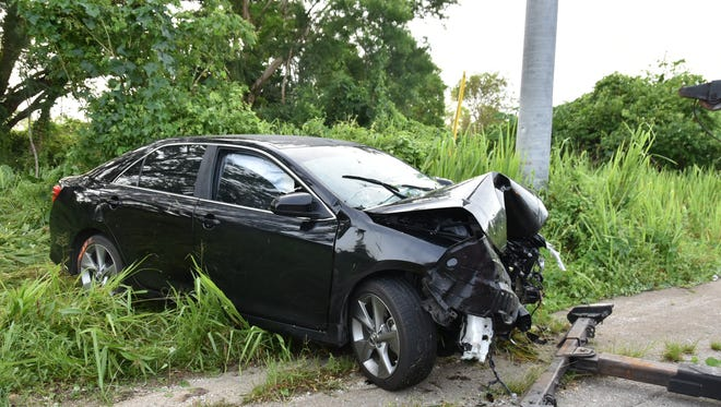 A Toyota Camry crashed off of Route 10 in Barrigada on Wednesday, July 8.
