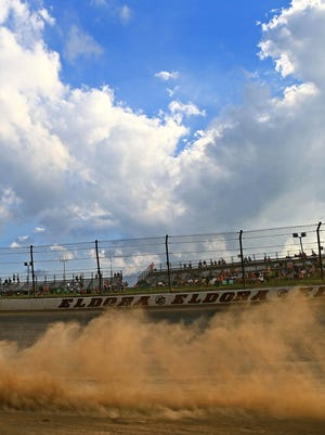 Fans watch a race at Eldora Speedway in a previous year.
