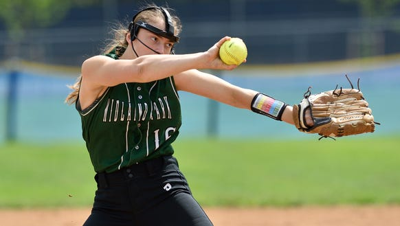 Midland Park's Emily Kontos pitches in the game against