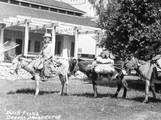 Gold prospector Dutch Frank at the Desert Inn, circa 1914.