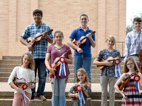 Music Clubs State Contest Outstanding Winners from San Angelo's Suzuki Strings Studio are: (Top row left to right)  Lucas Moralez, Jonathan Deanda, Gavin Ward; Middle row: Alyssa Labra, left, James Devereaux; Bottom row: Sophie Deveraux, left, Seva Devereaux and Arabella Dunlap. Not pictured are Morgan Byers, Michael Vincent, Maddy Searsy, Adelyn Sohn, Josie Baker, Clayton Woiton, and Li Devereaux.