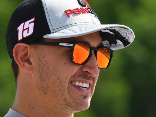 Jun 23, 2017; Elkhart Lake, WI, USA; Verizon IndyCar Series driver Graham Rahal (15) during practice for the Kohler Grand Prix at Road America.
